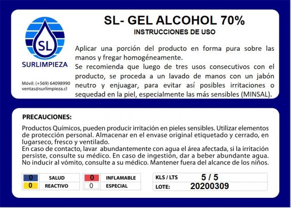 GEL ALCOHOL sur limpieza